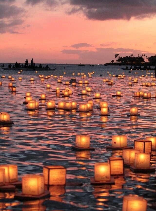 lantarens op het water